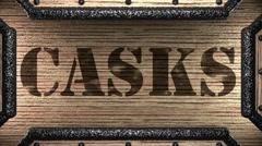 Casks on wooden stamp Stock Footage