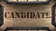 Candidate on wooden stamp Stock Footage