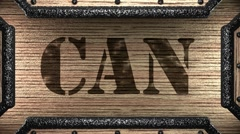 can on wooden stamp - stock footage