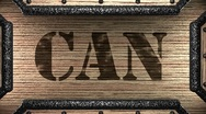 Can on wooden stamp Stock Footage