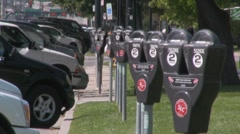 Parking meters all lined up and expired Stock Footage