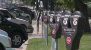 Stock Video Footage of Parking meters all lined up and expired