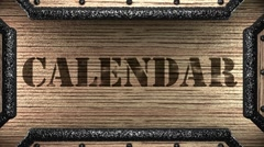 calendar on wooden stamp - stock footage