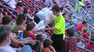 Stock Video Footage of Cotton Candy Ballpark Vendor
