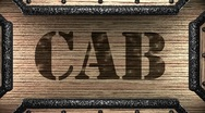 Cab on wooden stamp Stock Footage