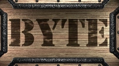 byte on wooden stamp - stock footage