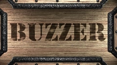 Buzzer on wooden stamp Stock Footage