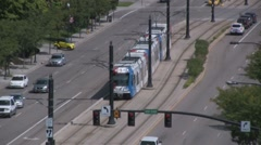 Trax Train and cars and trucks Stock Footage