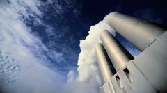 Chimneys & Steam at Geothermal Power Station Stock Footage
