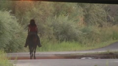 Woman riding beauty a horse under a bridge Stock Footage