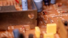 Circuit board macro slider shot Stock Footage
