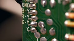 Circuit board leads and resistors Stock Footage