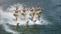 Women Water Ski ONE LEG in TUTUS ACROBATS Stunt 50s Vintage Film Home Movie 560 Stock Footage