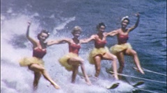 Pretty Girls CHOREOGRAPHED Water Ballet Show 1950s Vintage Film Home Movie 561 - stock footage