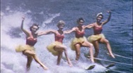 Stock Video Footage of Pretty Girls CHOREOGRAPHED Water Ballet Show 1950s Vintage Film Home Movie 561