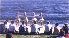 Petty TUTU GIRLS Glide to Beach Waterski Show 1950s Vintage Film Home Movie 562 Stock Footage