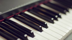 Grand Piano Keyboard - diagonal keyboard view Stock Footage