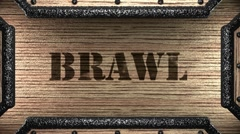 brawl on wooden stamp - stock footage