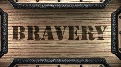 bravery on wooden stamp - stock footage