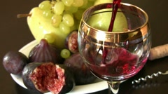 Red wine and fruits Stock Footage