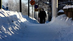 Scandinavia Finland Pori Town Hall main square snow winter - stock footage