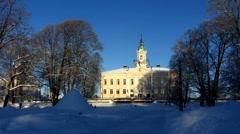 Scandinavia Finland Pori Town Hall in snow - stock footage