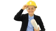 Smiling female engineer with helmet, isolated on white Stock Footage
