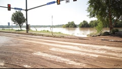 Empty Intersection After a Flood Stock Footage