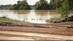 Muddy Road After Receded Flood Waters Stock Footage