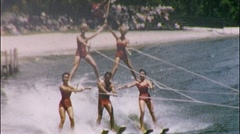 HUMAN PYRAMID STUNT Water Ski Show Waving Hi 1950s Vintage Film Home Movie 569 Stock Footage