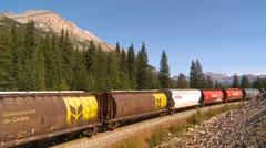 Railroad, freight train grain cars, covered in graffiti, Mt Bosworth in Bg Stock Footage
