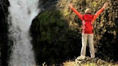 Female Hiker Celebrating Achieving her Ambitions - stock footage