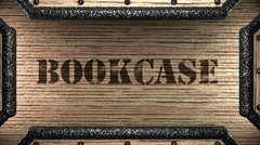Bookcase on wooden stamp Stock Footage