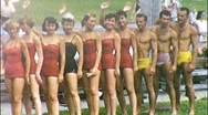 Stock Video Footage of PIN UPS GIRLS BOYS Waterski Fashion Show 1960 (Vintage Film Home Movie) 570
