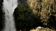 Female Hiker Stopping at Waterfall - stock footage
