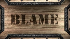 blame on wooden stamp - stock footage