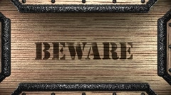 beware on wooden stamp - stock footage
