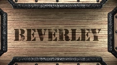 Beverley on wooden stamp Stock Footage