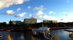 Scandinavia Finland Rauma harbour harbor Stock Footage