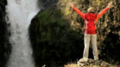 Lone Female Success on a Hiking Expedition - stock footage