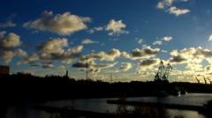 Scandinavia Finland Rauma harbour harbor crane - stock footage