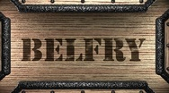 Belfry on wooden stamp Stock Footage