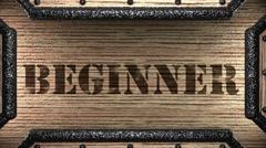 beginner on wooden stamp - stock footage