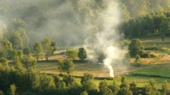 Landscape with a smoke Stock Footage