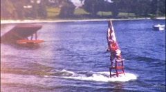 UPSIDE DOWN CLOWN Chair Waterski Stunt Show 1960s Vintage Film Home Movie 557 Stock Footage