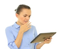 Excited businesswoman with tablet computer, isolated on white Stock Footage