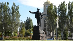 The monument «Glory to miner's work» in Donetsk Stock Footage