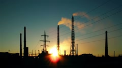 Ironworks silhouette at a sunset Stock Footage