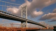 Stock Video Footage of Benjamin Franklin Bridge Time Lapse