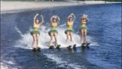 Women on Water Skis Show Ballet Performance 1950s Vintage Film Home Movie 558 Stock Footage